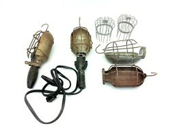 Vintage Lot Used Caged Industrial Shop Light Unusual Lighting Bulb Covers Parts