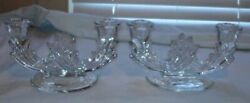 Antique 2 Clear Pressed Glass Double Candlesticks
