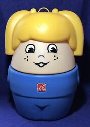 Vintage Step2 Chunky Little People Blue Girl Toybox Toy Box Little Tikes Rare