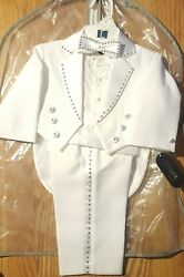 Fouger Toddler White Tux W/tails & Bling Lg - Brand New In Suit Bag