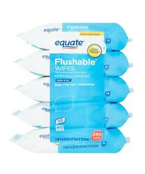 Equate Flushable Wipes, 5 Packs Of 48 Wipes, 240wipes Total Fresh Scent