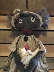 Primitive African American Doll ~ With Her Chicken  ~ Ooak ~ Keeya