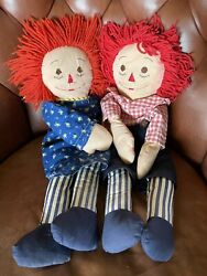 Vintage Rare Raggedy Ann And Andy Cloth Dolls - Vertical Blue White Legs 22""