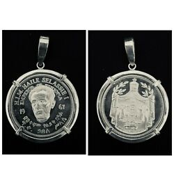 A 1967 Ethiopian 75th Birthday Haile Selassie I Sterling Silver Coin Pendant