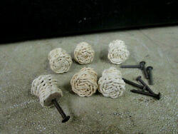 6 Unfinished Vintage Wicker Knobs Pull Cabinet Furniture With Hardware
