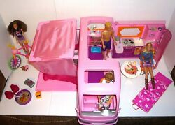 Loaded Pink Barbie Glamour Camper Real Sounds, 4 Barbie Dolls, Bike, Accessories