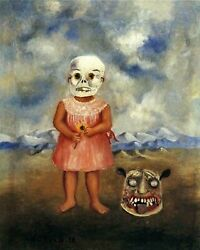 Frida Kahlo, Girl With Death Mask (she Plays Alone) 1938 8 X 10 Print