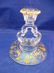 Antique Glass Candlestick Holder With Goldtone Overlay - Very Ornate