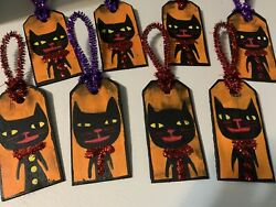 Primitive Halloween Cat Ornaments Hand Painted