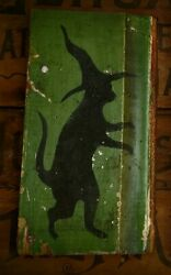 Primitive Halloween Silhouette Cat Witch Cupboard Tuck Sign Old Green Barn Wood