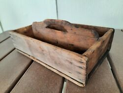Early Primitive Farmhouse Wood Knife Cutlery Tote Caddy Square Nails Rustic