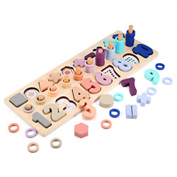 Wooden Number Puzzle Sorting Montessori Toys For Toddlers, Voamuw Shape Sorter 3
