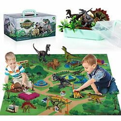 Dinosaur Toy Figure W/ Activity Play Mat & Trees, Educational Realistic