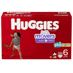 Huggies Little Movers  Baby Diapers, Size 6: 35lbs And Up, 116 Count  Cws