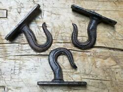 3 Cast Iron Antique Style Industrial Grapple Pully Hook Steampunk Rustic Plant