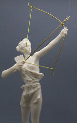 Artemis Diana With Bow Greek Roman Goddess Statue Sculpture Cast Marble 15.9 In