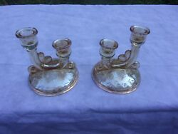 Pair Of Double Stick Marigold Glass Candlesticks
