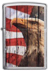 Zippo Windproof Patriotic Bald Eagle & U.s.a. Flag Lighter, 49133, New In Box