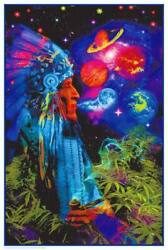 Peace Pipe Universe Non-flocked Blacklight Poster 24