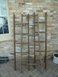 Rustic Vintage Old Wooden Ladder 6 Ft - For Use In Decorating.  Round Rung Wood