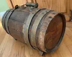 Vintage Wooden Steel Banded Whiskey Barrel With Handle & Legs Cork Stopper Wine