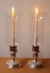 Kirks Sterling Repousse Rose Candlesticks With Fine Glass Shades -  Excellent