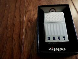 U.s Military Navy Etched Chrome Zippo Lighter United States Etched Flag