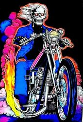 Highway To Hell - Blacklight Poster - 23x35 Flocked Skeleton Motorcycle 53098