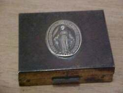 Vintage Small Metal Box With Mary On The Lid And A Rosary Or Religious Necklace