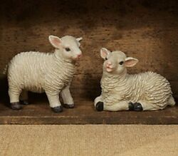 New Sheep Country Farmhouse Set Of 2 Assorted Resin Vintage Look Assorted Poses