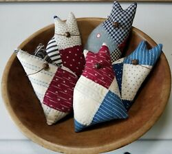 Antique Primitive Cutter Quilt Cats Bowl Fillers Tucks Red White & Blue