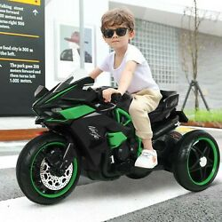 12v Kids Ride On Toy Motorcycle Four-wheeled Electric Bike Car With Flashing Us