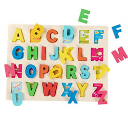 Joqutoys Wooden Alphabet Puzzles For Toddlers, Chunky Abc Puzzles Board For 2-5
