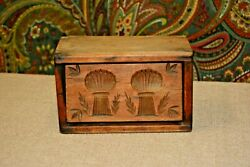 Rare Antique Primitive Hand-carved 2-piece Rectangular Wooden Butter Mold/stamp