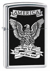 Zippo Windproof Lighter With American Bald Eagle, Right To Bear 28290 New In Box