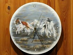 Wooden Wall Clock With Borzoi Painting. Borzoi Art, Gift.