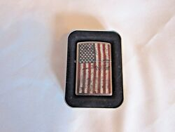 Zippo Cigarette Lighter Distressed Usa Flag Never Used 2017