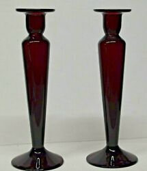 Pair Of Pairpoint Hand Blown Amethyst Crystal Form Candlesticks