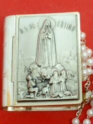 Our Lady Of Fatima Silver-plated Bible-shaped Rosary Box/pill Box Made In Italy