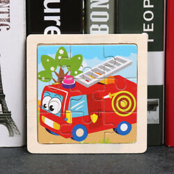 Kids Wooden Puzzle Cartoon Animal Traffic Tangram Puzzle Toys Educational Gifts