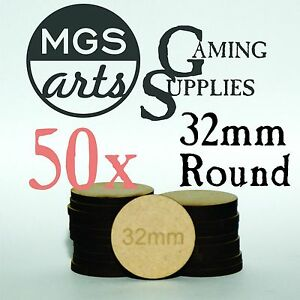 50x 32mm Round Laser Cut Mdf Miniature Warhammer Bases Free Shipping!!