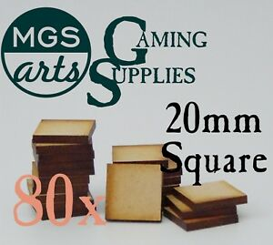 80x 20mm Square Laser Cut Mdf Miniature Warhammer Bases Free Shipping!!!