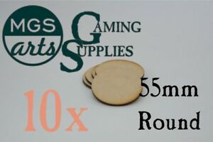 10x 55mm Round Laser Cut Mdf Miniature Warhammer Bases  Free Shipping!!!