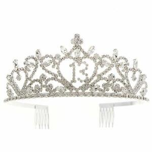 13 Tiara 13th Birthday Party Accessories Supplies, Crown Silver (silver Heart)