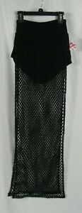 New Hearts Black Mesh Long Beach Cover Up Skirt With Built In Shorts (d1-31)