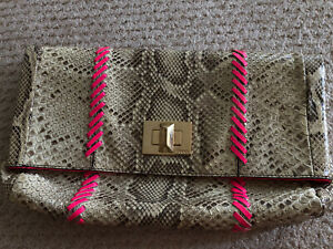 Emilio Pucci Rare Limited Edition Python Skin Studded Fold-over Clutch Bag