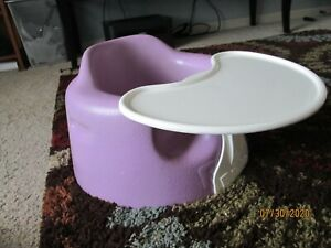 Bumbo Baby Floor Seat Chair Blue With New Safety Straps Purple / Lavender / Tray