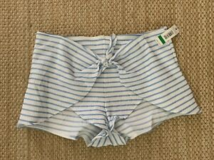 Anne Cole Studio Blue/white Striped Cover Up Shorts Size Large Msrp $78