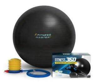 Fitness Master Heavy Duty Exercise & Pilates Ball Grey 55cm - Anti Burst W/ Pump