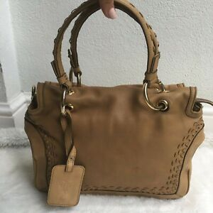Emilio Pucci Womens Brown Camel Brown Tan Leather Zip Hand Bag Braided